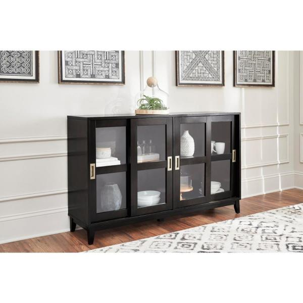 Home Decorators Collection - Canonbury Ebony Wood Buffet Table with Glass Doors (55.30 in. W x 34 in. H)