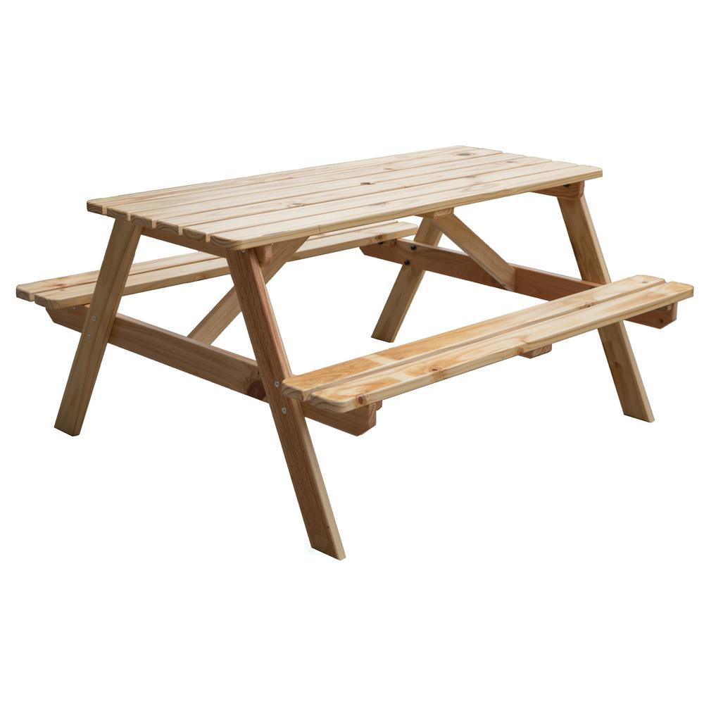 Gardenised Natural A Frame Wooden Outdoor Patio Deck Garden Picnic Table