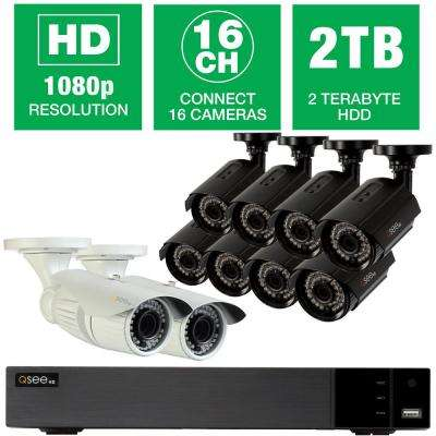 16-Channel 1080p 2TB Video Surveillance System with (8) 1080p Bullet Cameras and (2) 1080p Dome Cameras