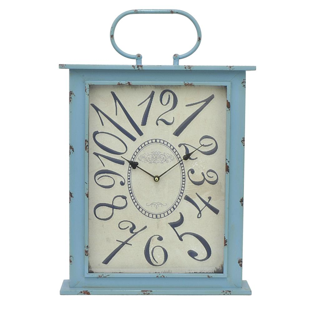 Three hands blue metal wall clock 29705 the home depot three hands blue metal wall clock amipublicfo Images