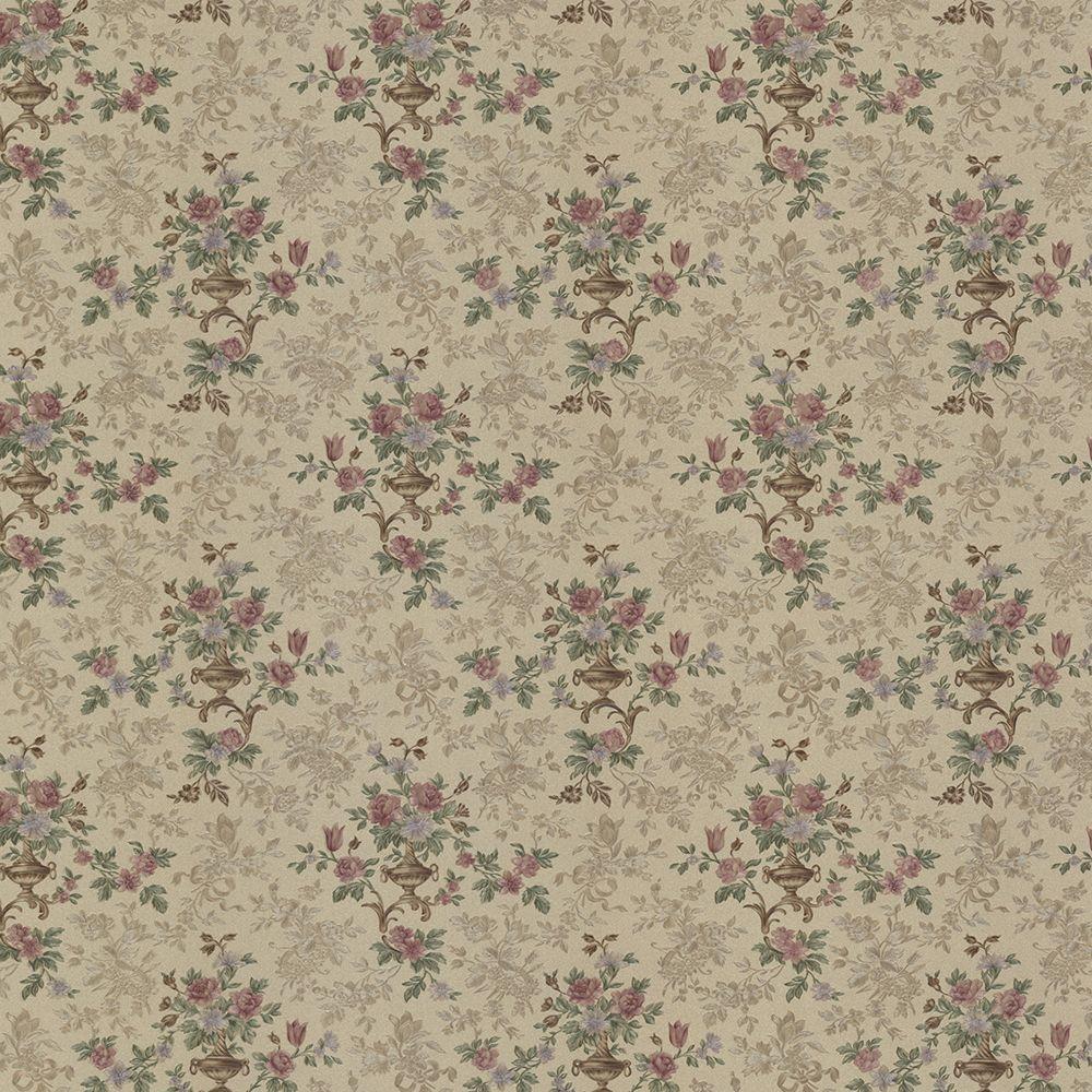 Kezea Light Brown Petit Floral Urn Wallpaper Sample