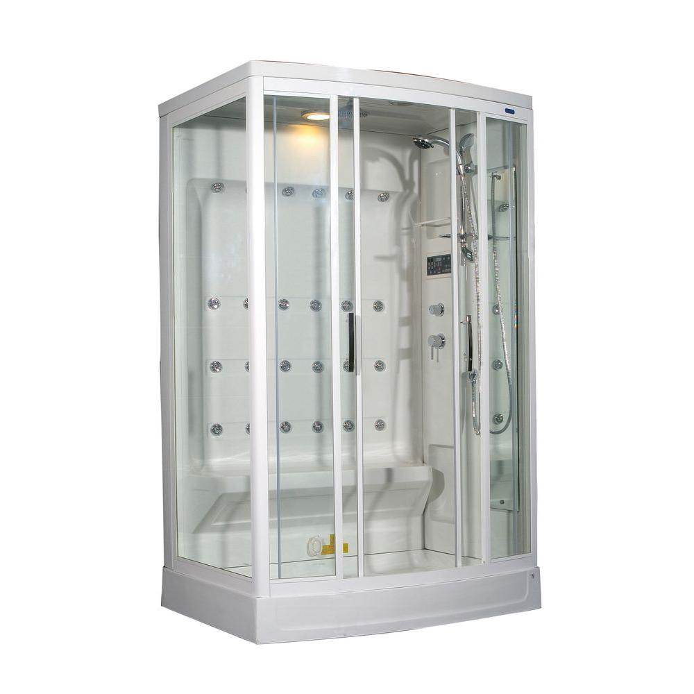 Aston ZA219 52 in. x 39 in. x 85 in. Steam Shower Right Hand Enclosure Kit in White with 24 Body Jets
