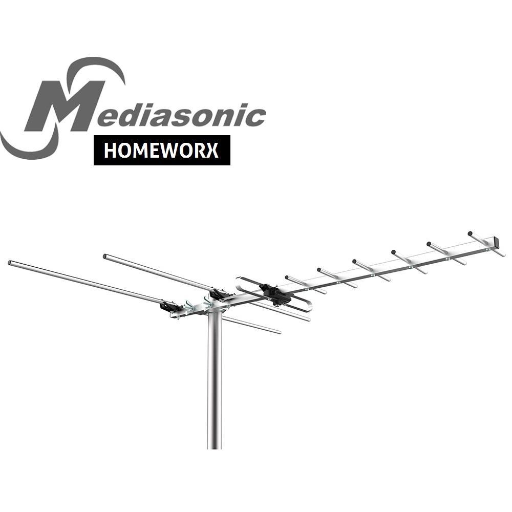 HomeWorx HDTV Digital TV Outdoor Antenna 80 Miles Range Support UHF/VHF/FM