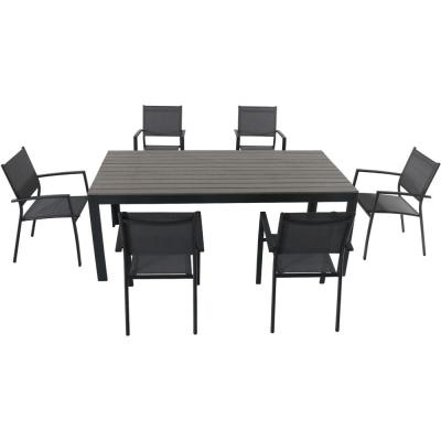 Tucson 7-Piece Aluminum Outdoor Dining Set with 6-Sling Arm Chairs and a Faux Wood Dining Table