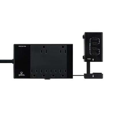 6-Outlet Surge Protector Power Strip Extendable 4x USB Ports Circuit Breaker Switch, Black