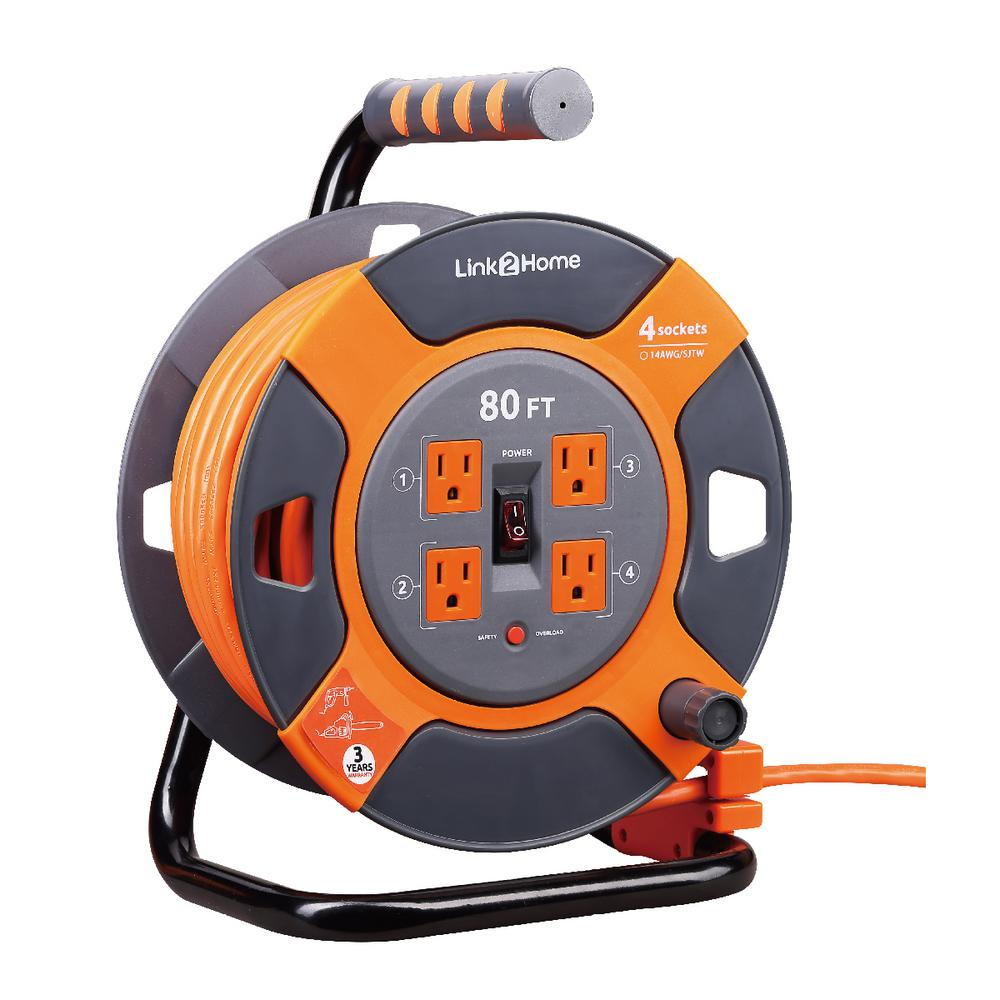 Link2Home 80 ft. 14/3 Extension Cord Storage Reel with 4 Grounded Outlets and Surge Protector