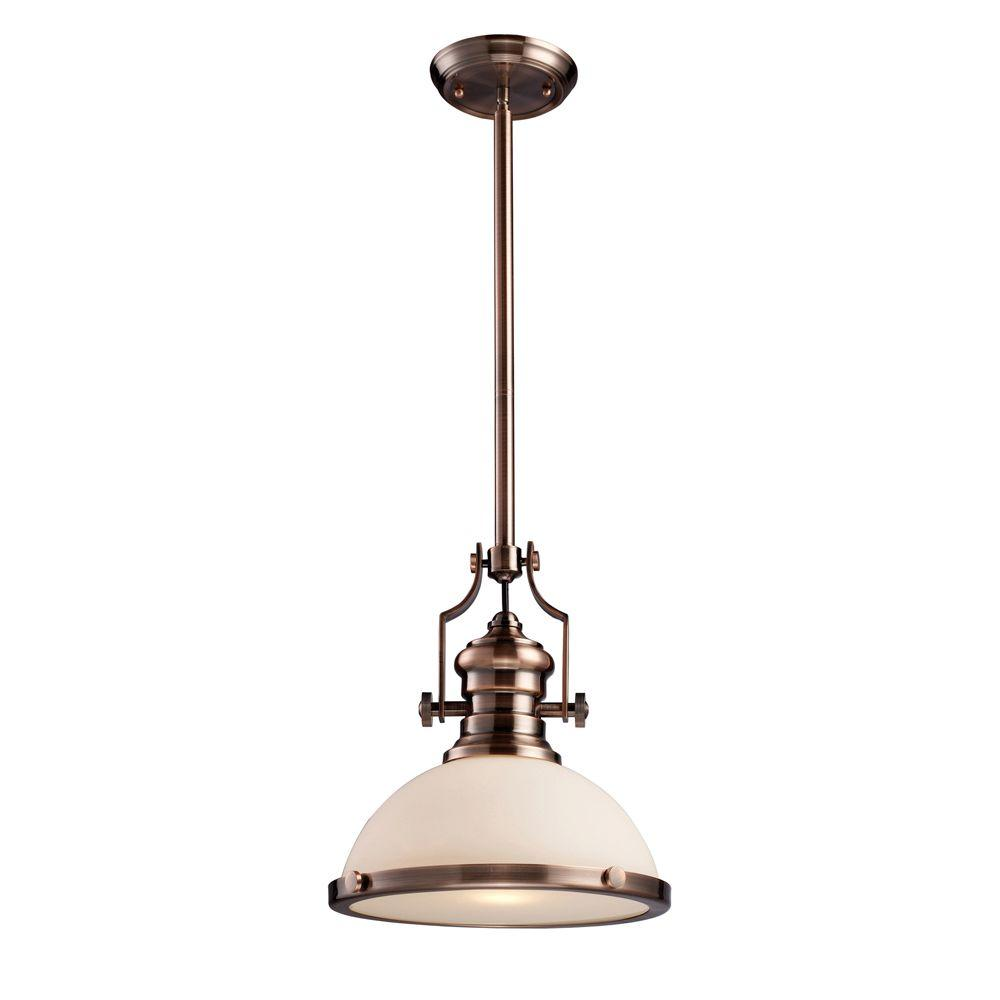 Titan Lighting Chadwick 1-Light Antique Copper Ceiling Mount Pendant