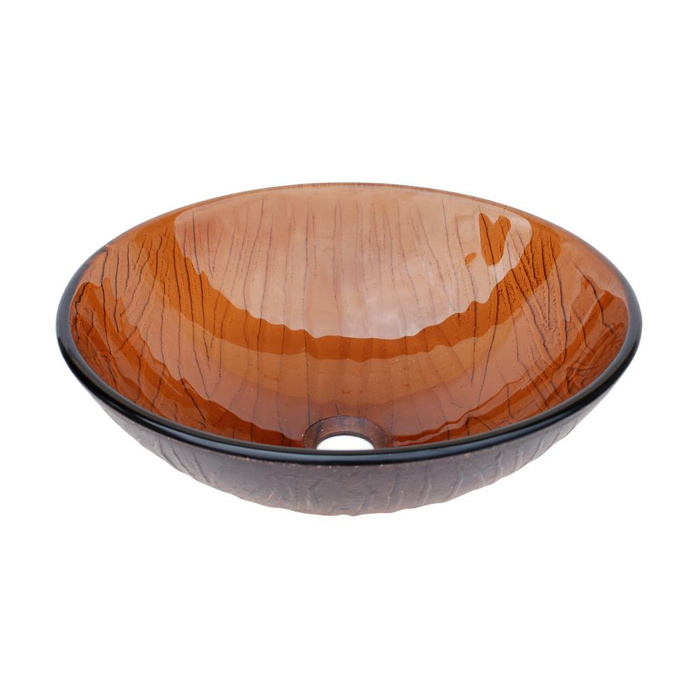 Eden Bath Wood Vein Glass Vessel Sink in Cola Brown