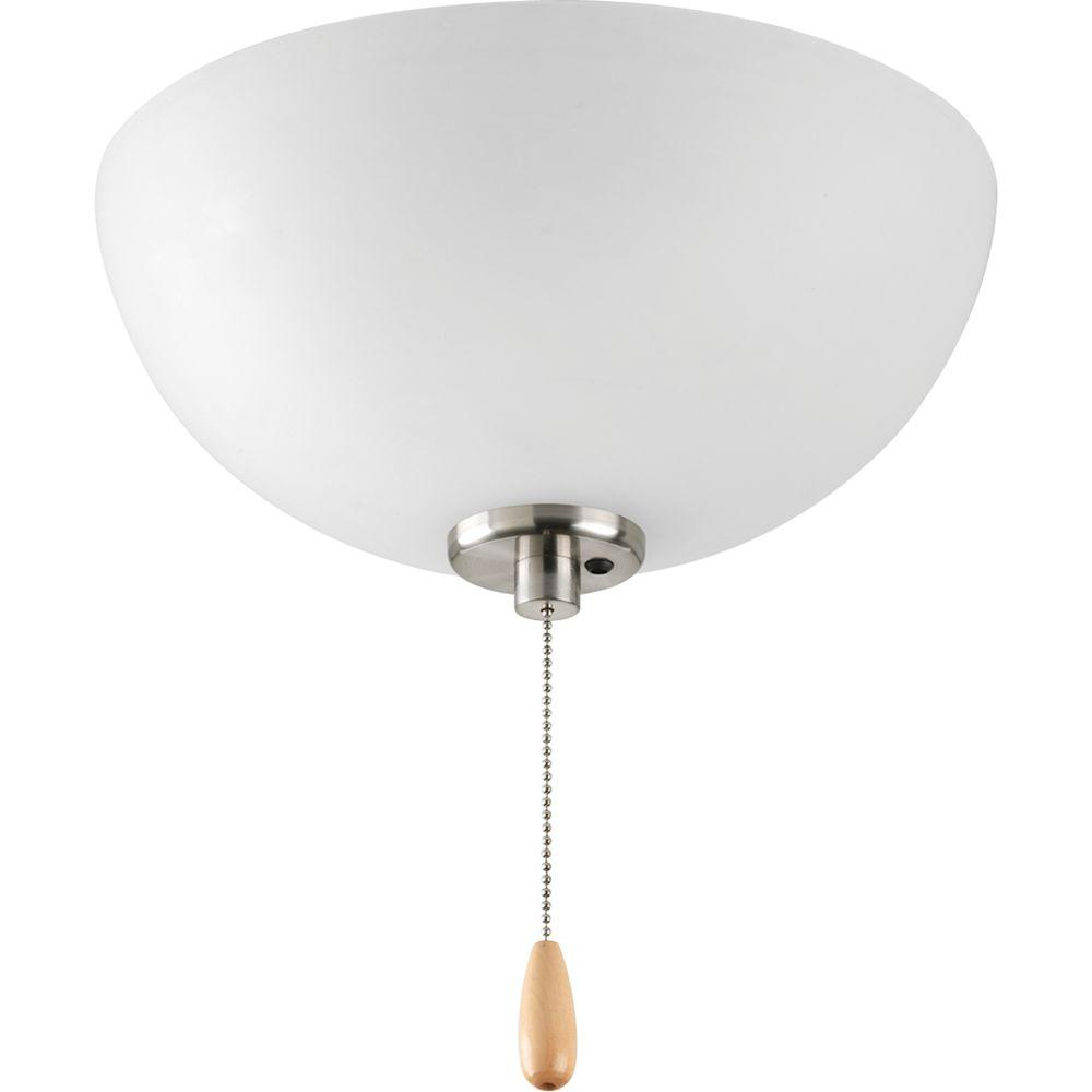 Bravo Collection 3-Light Brushed Nickel Ceiling Fan Light