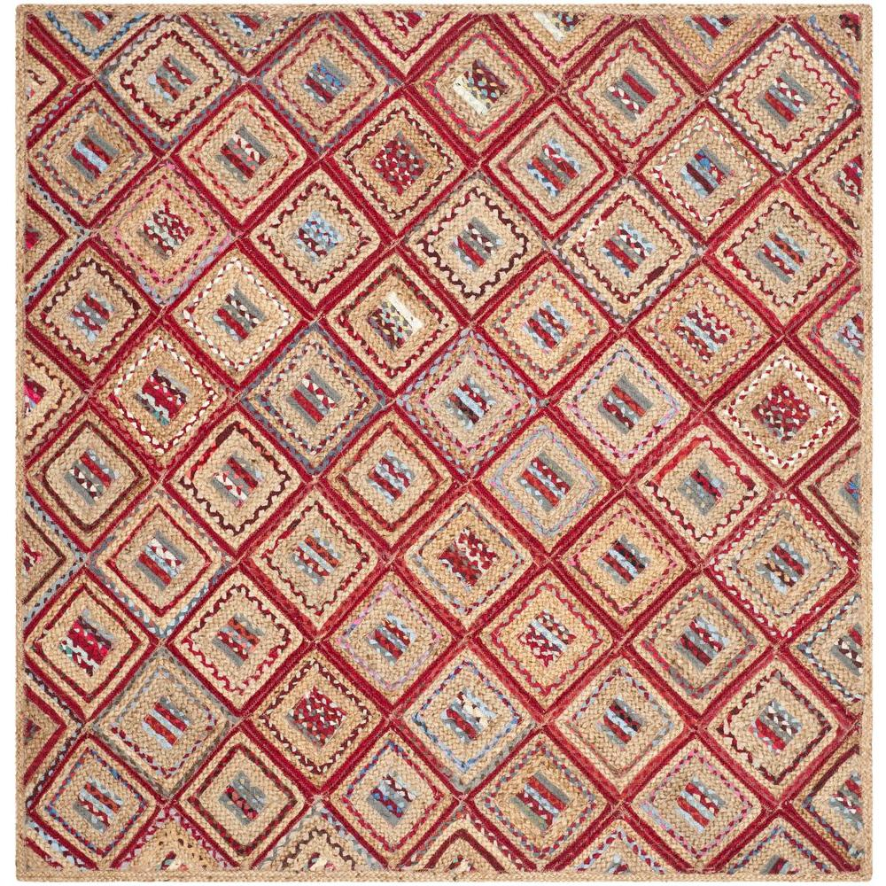 Safavieh Cape Cod Natural/Red 6 ft. x 6 ft. Square Area Rug
