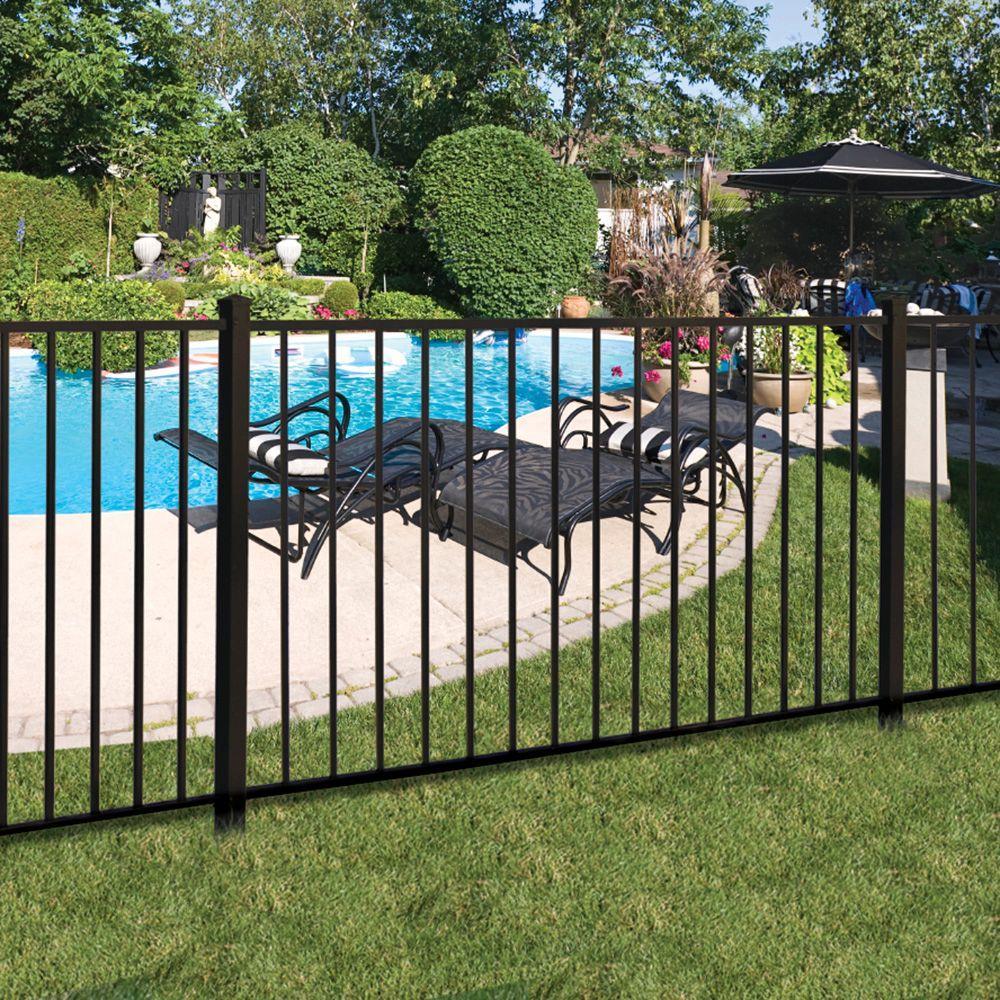 Barrette Outdoor Living Beechmont Standard Duty 4 Ft H X 6 Ft W Black Aluminum Pre Assembled Fence Panel 73008701 The Home Depot