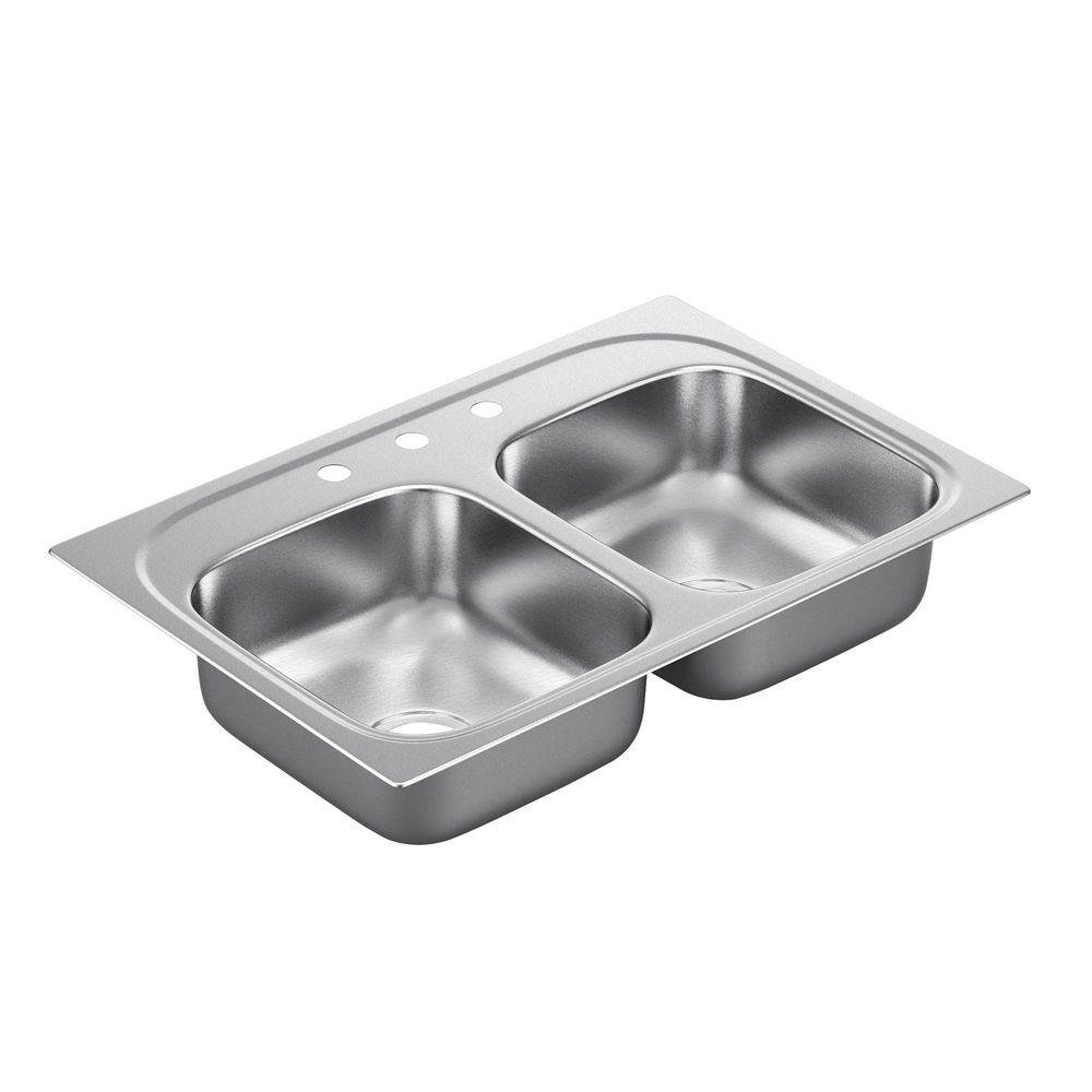 moen 2200 series drop-in stainless steel 33 in. 3-hole double bowl