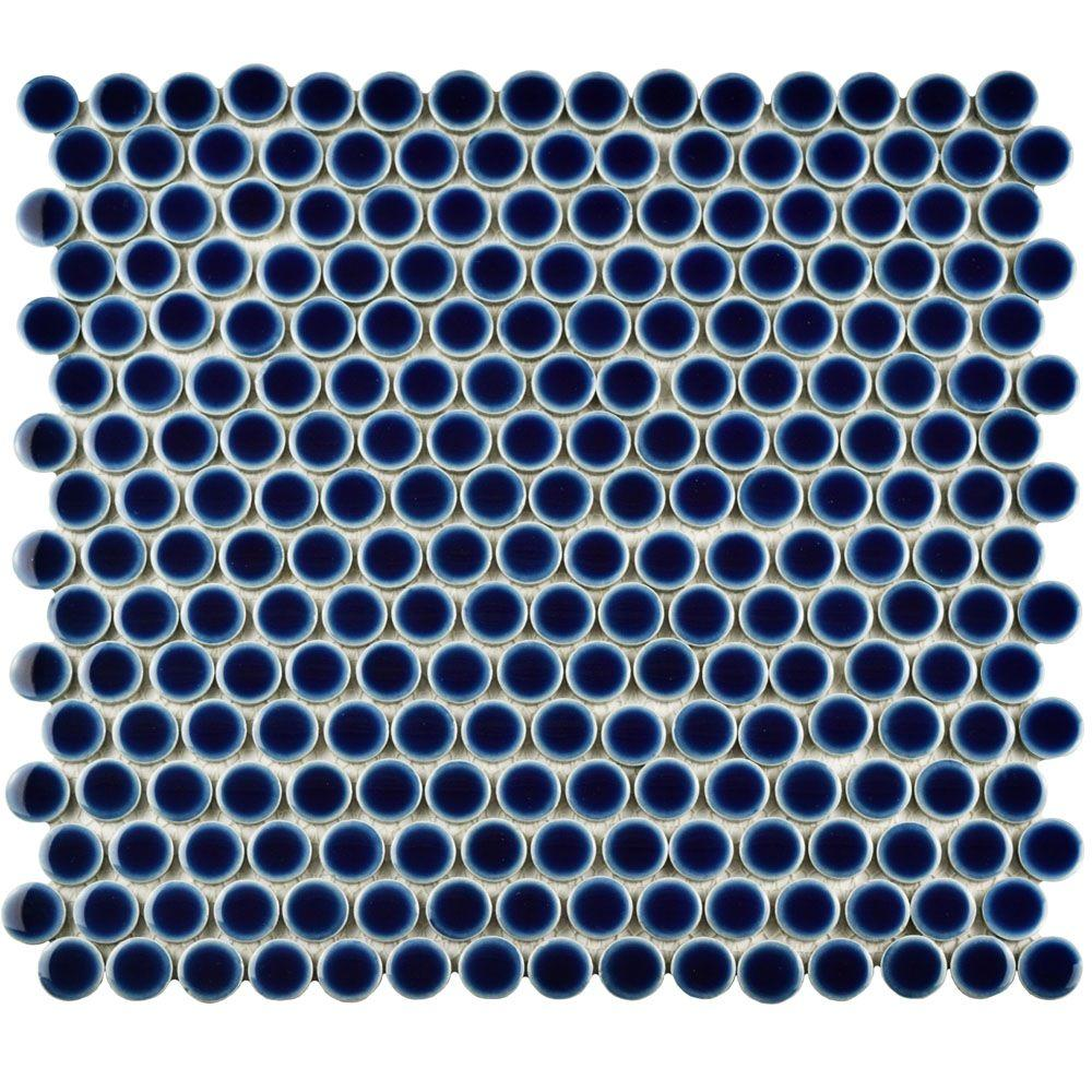 Hudson Penny Round Smoky Blue 12 in. x 12-5/8 in. x