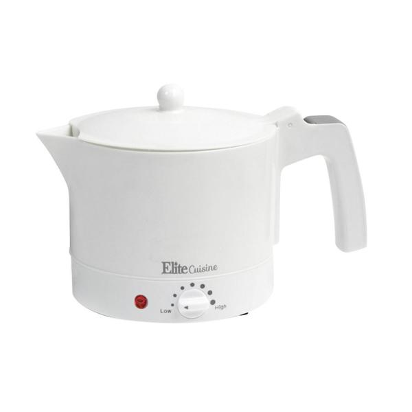 Elite 4-Cup White Electric Kettle with Temperature Control