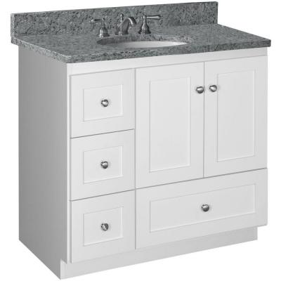 Shaker 36 in. W x 21 in. D x 34.5 in. H Vanity with Left Drawers Cabinet Only in Satin White