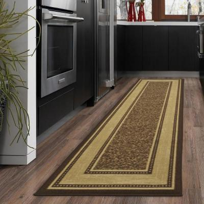 Ottohome Collection Contemporary Bordered Design Chocolate 2 ft. x 5 ft. Runner Rug