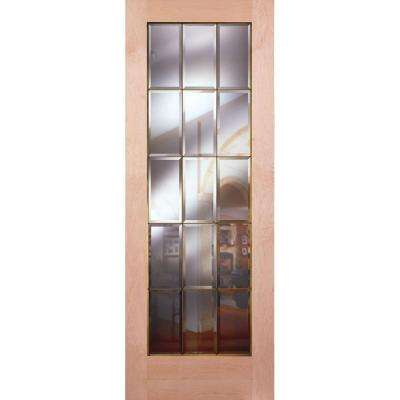 Attractive 15 Lite Clear Bevel Brass Woodgrain Unfinished Cherry Interior Door Slab