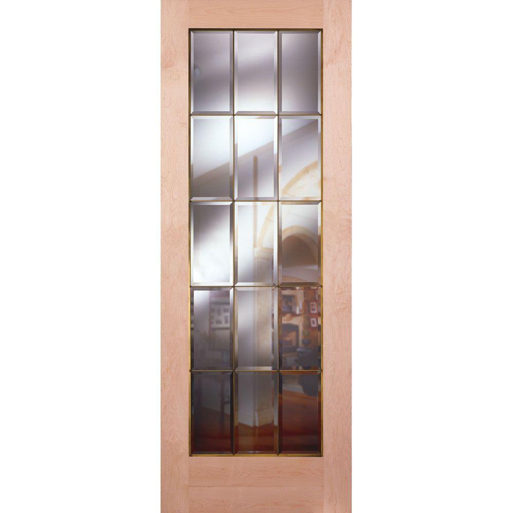 15 Lite Clear Bevel Brass Woodgrain Unfinished Cherry Interior Door Slab