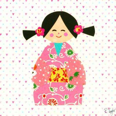 "10 in. x 10 in. ""Kimono Girl- Pig Tails"" by Rachel Taylor Printed Canvas Wall Art"