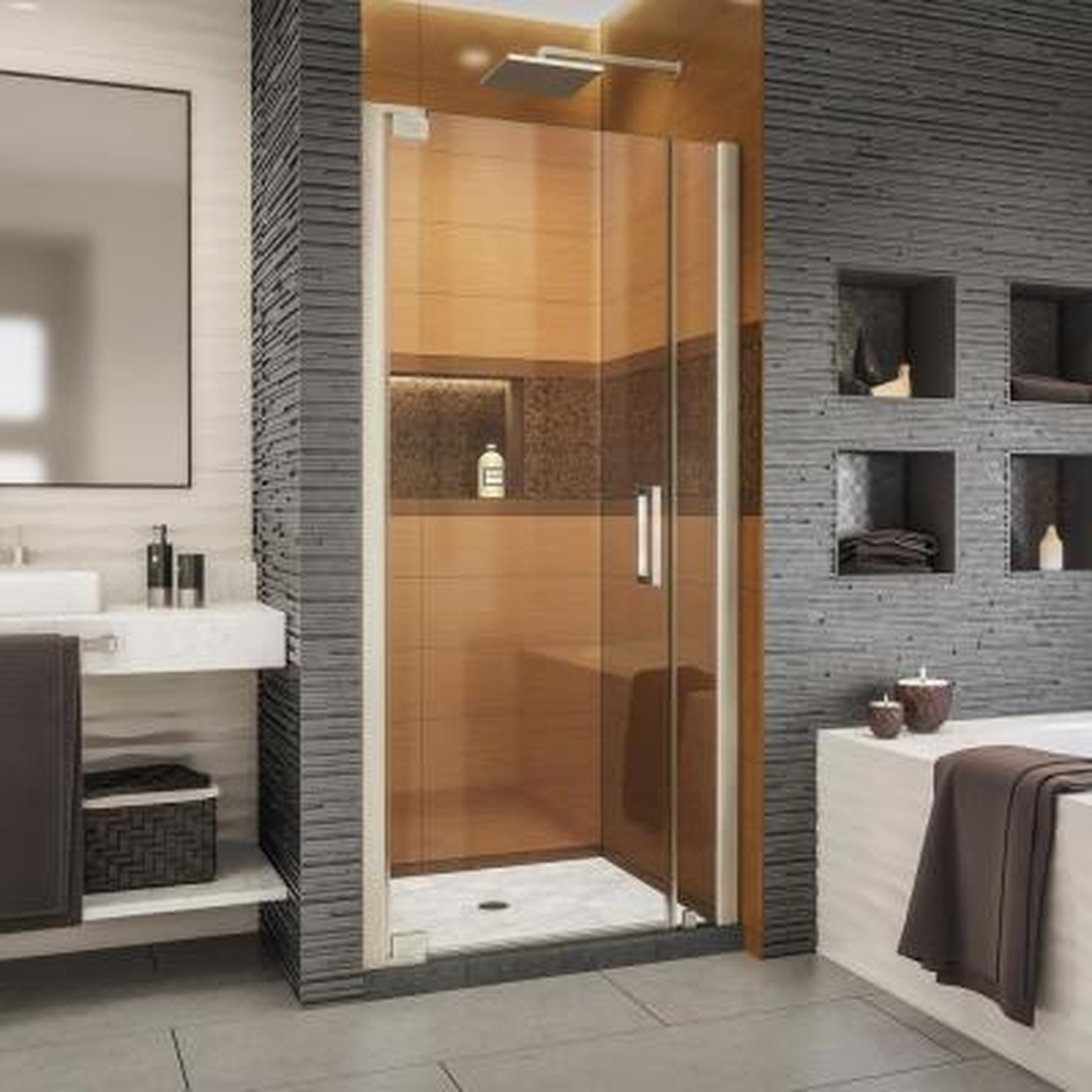 Elegance-LS 34-1/2 in. to 36-1/2 in. W x 72 in. H Frameless Pivot Shower Door in Brushed Nickel