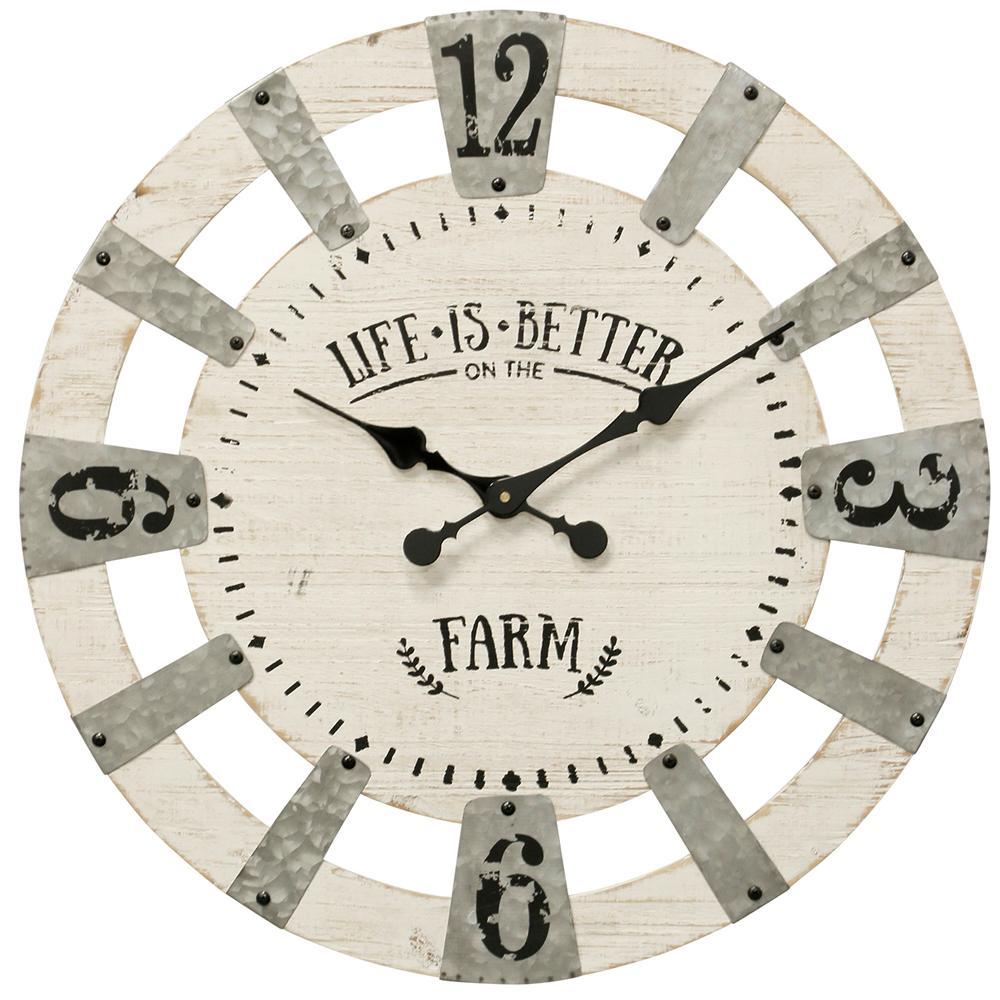 White Roman Numerals Wall Clock