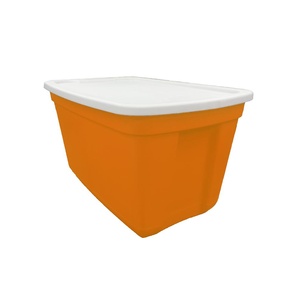 20 Gal. Storage Tote Blaze Orange Base-White Sale Lid
