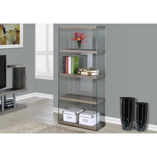 58.75 in. Dark Taupe/Clear Glass 4-shelf Standard Bookcase with Open Back
