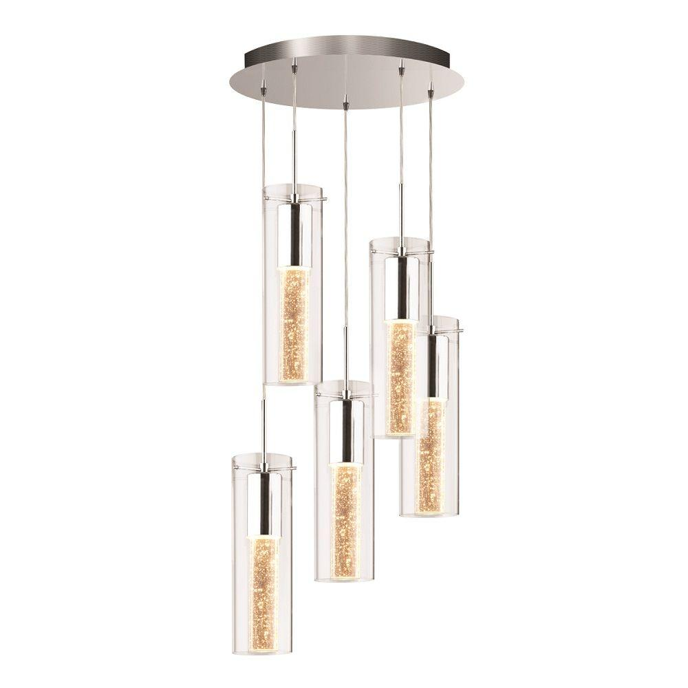 Pendant Collection 5-Light Chrome Accent Hanging Pendant with Glass Shade