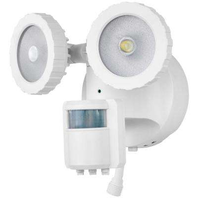 180-Degree White Solar Powered Motion Activated Outdoor Integrated LED Flood Light