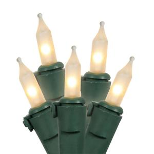 100-Light Frosted Clear Mini Christmas Light Set with 25.5 ft. Green Wire