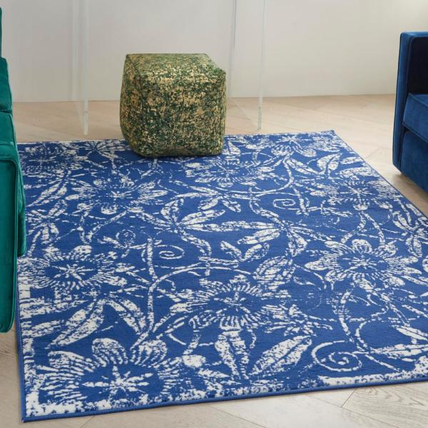 Nourison Whimsicle Navy 6 Ft X 9 Ft Botanical Contemporary Area Rug 836205 The Home Depot