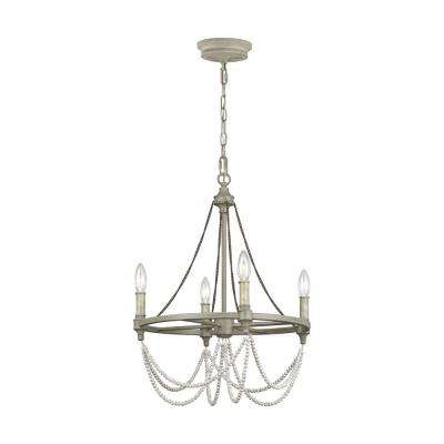 Beverly 4 Light French Washed Oak And Distressed White Wood Chandelier