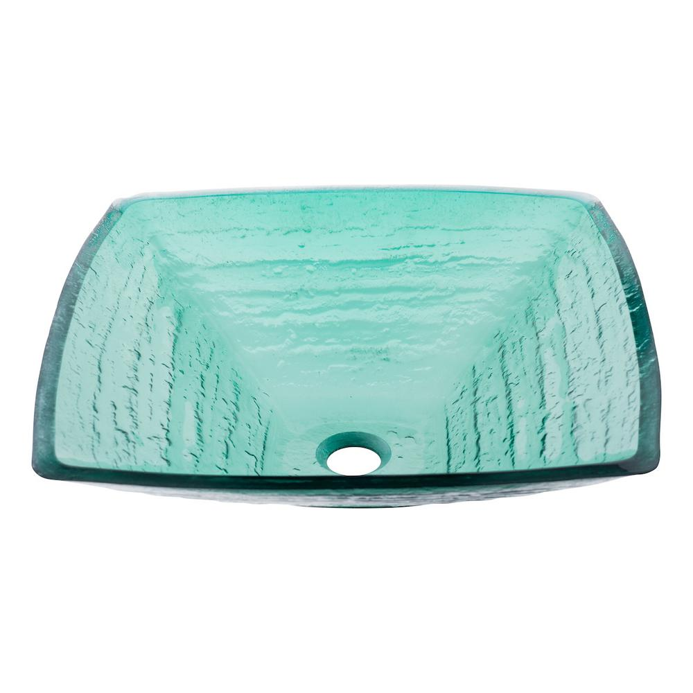 Sauna Square Glass Vessel Sink In Sea Green