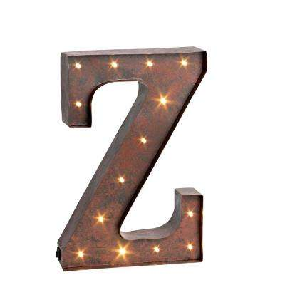 "12 in. H ""Z"" Rustic Brown Metal LED Lighted Letter"