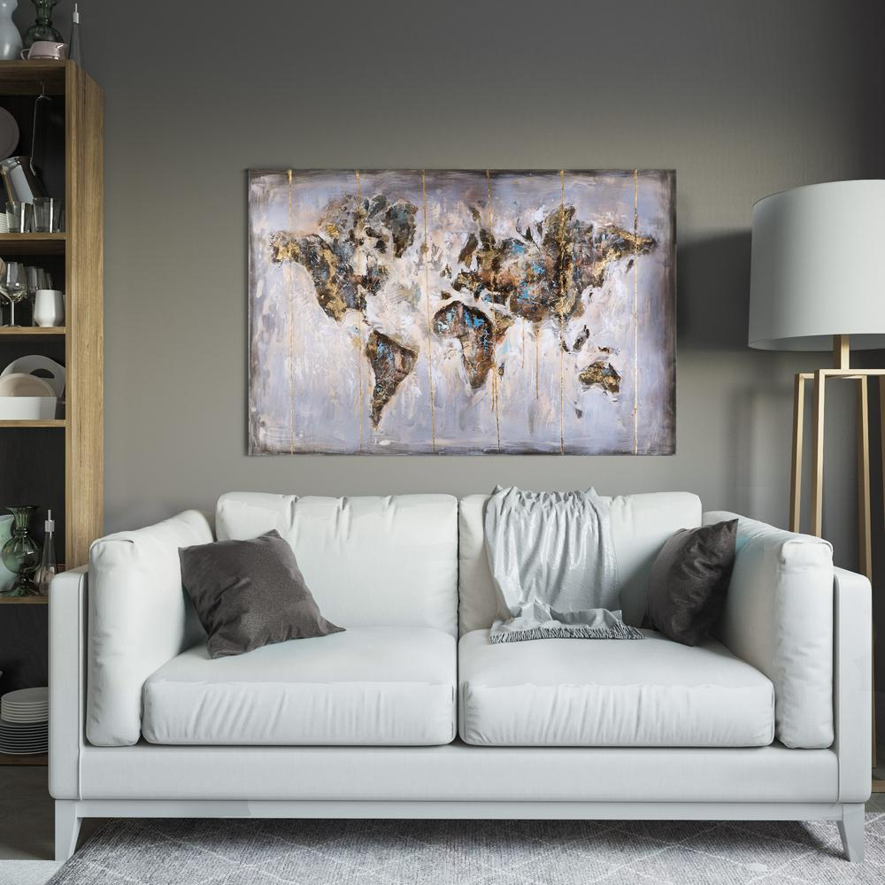 Yosemite Home Decor 31 5 In X 47 3 In Map In Neutrals Hand Painted