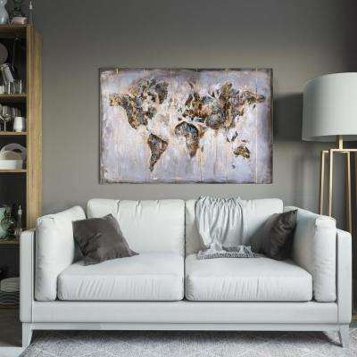 "31.5 in x 47.3 in ""Map in Neutrals"" Hand Painted Natural Wood Wall Art"