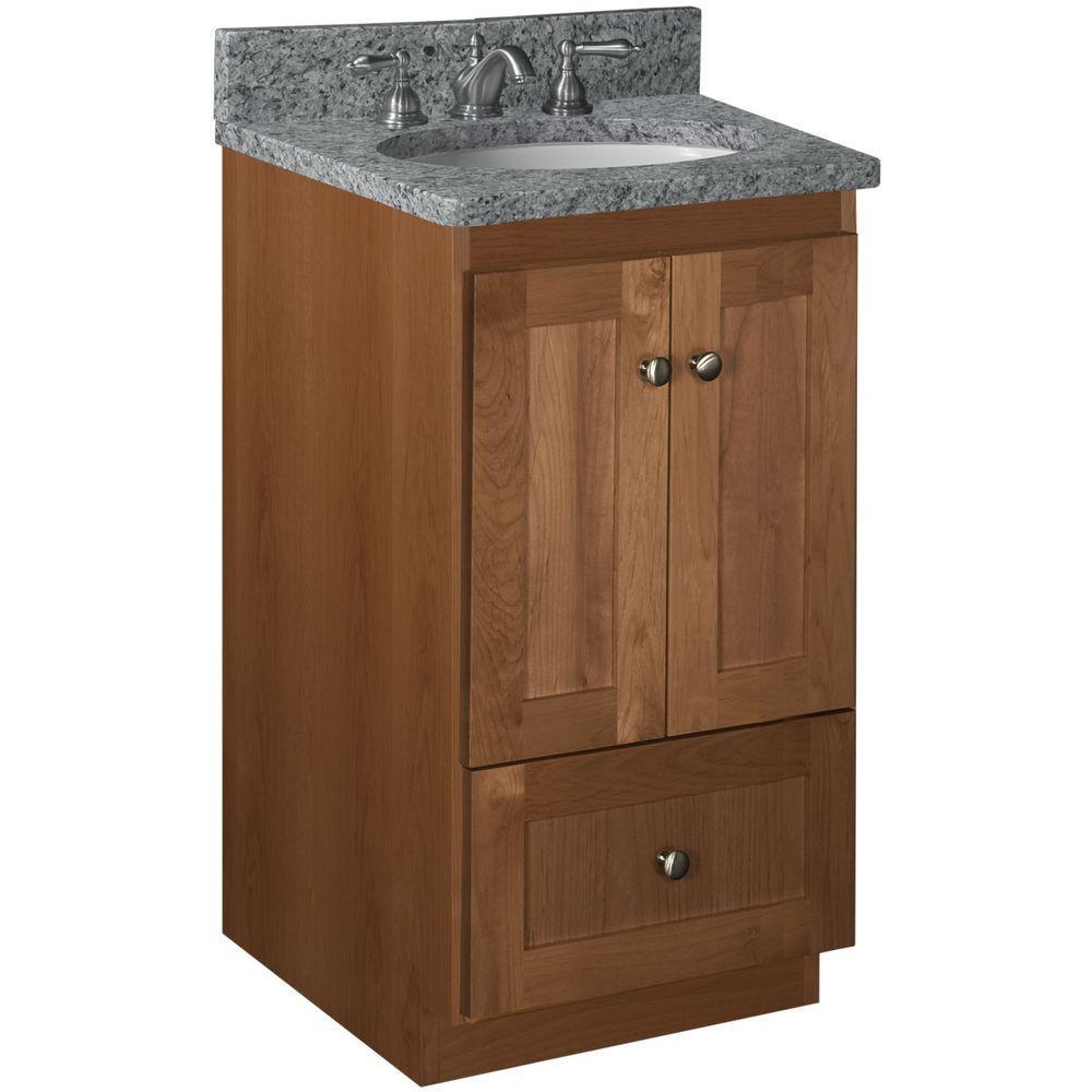 Shaker 18 in. W x 21 in. D x 34.5 in. H Vanity Cabinet Only in Medium Alder