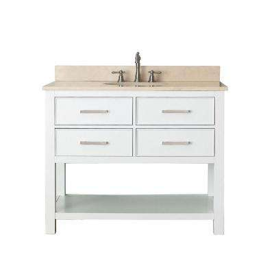 Brooks 43 in. W x 22 in. D x 35 in. H Vanity in White with Marble Vanity Top in Galala Beige and White Basin