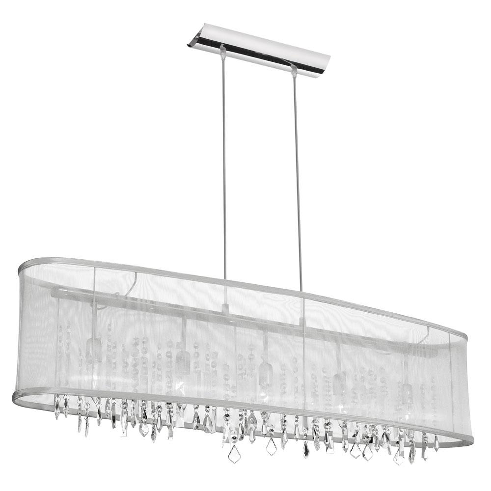 5-Light Polished Chrome Chandelier with White Shade