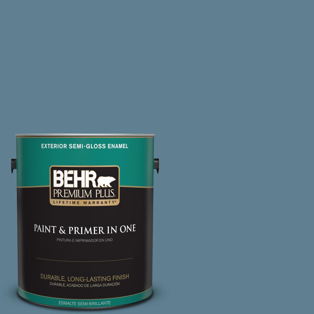 1-gal. #BXC-36 Aegean Blue Semi-Gloss Enamel Exterior Paint