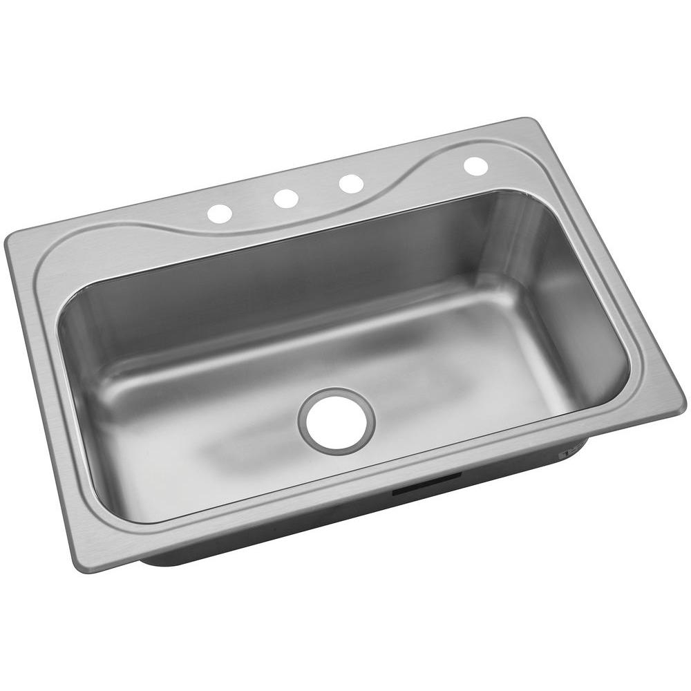 Drop In Stainless Steel Kitchen Sinks: STERLING Southhaven Drop-In Stainless Steel 33 In. 4-Hole