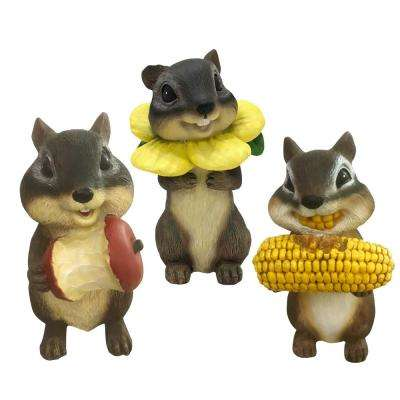 5.7 in. Springtime Chipmunks Indoor/Outdoor Lawn Statues (3-Pack)