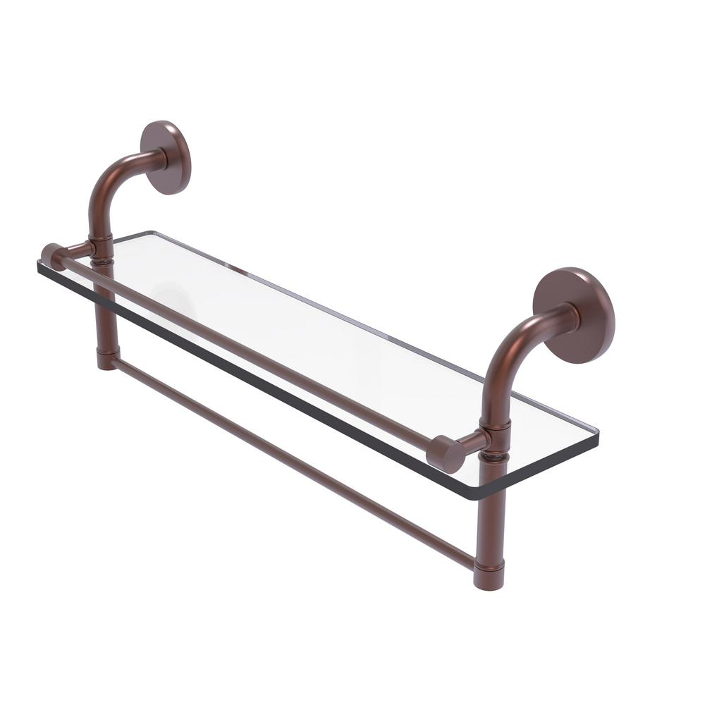 Allied Brass Remi Collection 22 in. Gallery Glass Shelf with Towel Bar in Antique Copper