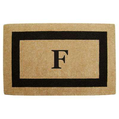 Single Picture Frame Black 30 in. x 48 in. HeavyDuty Coir Monogrammed F Door Mat