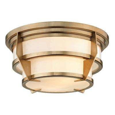 Delano 2-Light Champagne Silver Leaf 13 in. D Flushmount with Shiny Opal Glass