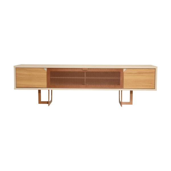 Javitz 81 in. Cinnamon and Off-White Particle Board TV Stand Fits TVs Up to 70 in. with Storage Doors