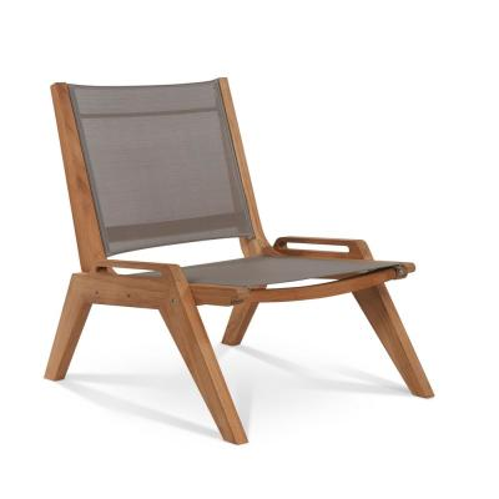 Draper Teak Sling Outdoor Lounge Chair