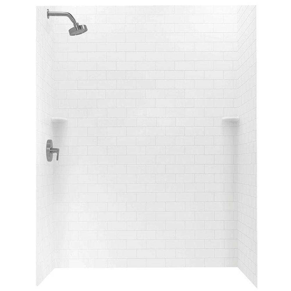 Tile Look Shower Surround.Swan 36 In X 62 In X 72 In 3 Piece Solid Surface Subway Tile Easy Up Adhesive Alcove Shower Surround In White