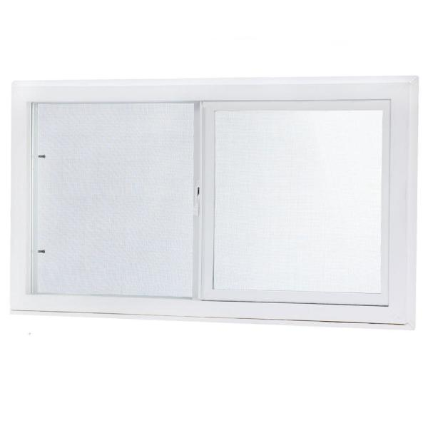 31.75 in. x 13.75 in. Left-Hand Single Sliding Vinyl Window with Dual Pane Insulated Glass - White