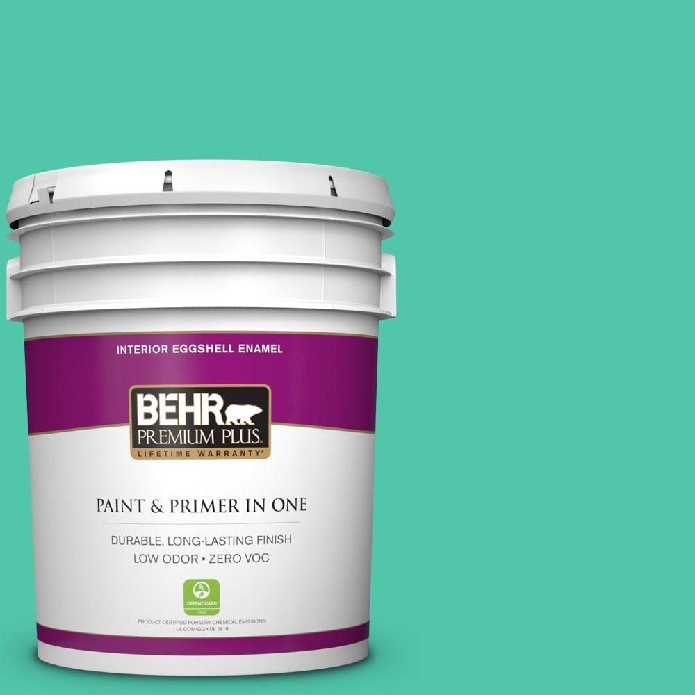 BEHR Premium Plus 5-gal. #480B-4 Shoreline Green Zero VOC Eggshell Enamel Interior Paint